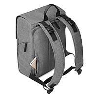 Многофункиональная, стильная сумка-рюкзак для мам  серая  Mommore, фото 6