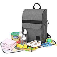 Многофункиональная, стильная сумка-рюкзак для мам  серая  Mommore, фото 2
