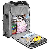 Многофункиональная, стильная сумка-рюкзак для мам  серая  Mommore, фото 7