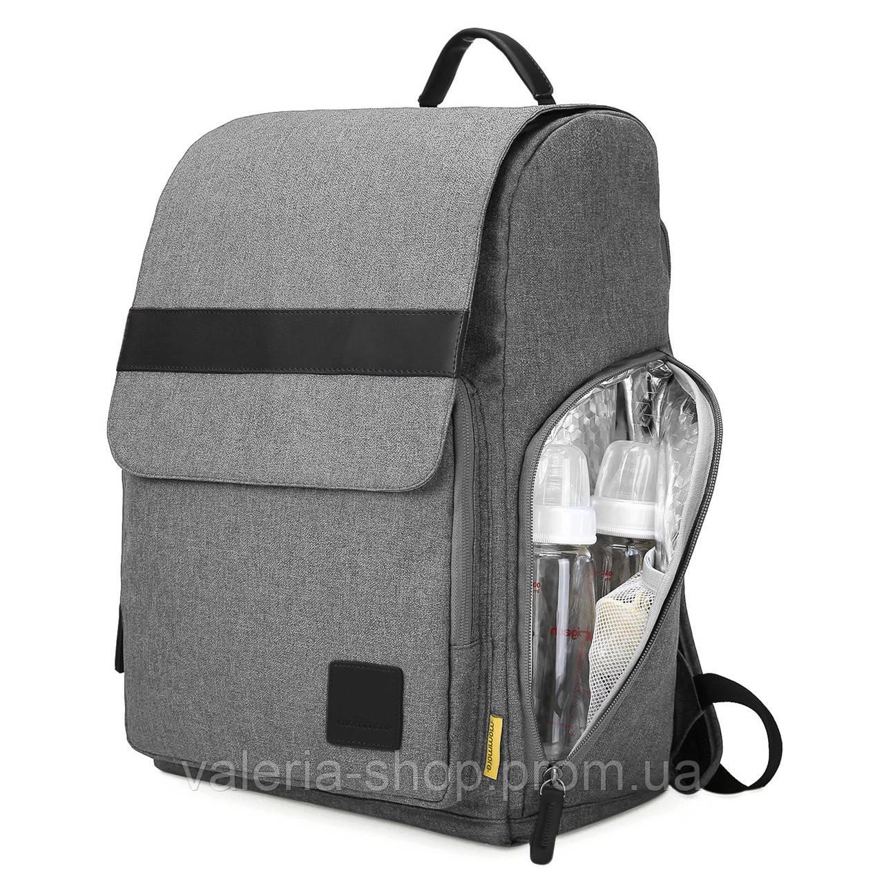 Многофункиональная, стильная сумка-рюкзак для мам  серая  Mommore