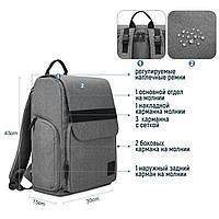Многофункиональная, стильная сумка-рюкзак для мам  серая  Mommore, фото 9