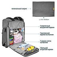 Многофункиональная, стильная сумка-рюкзак для мам  серая  Mommore, фото 10