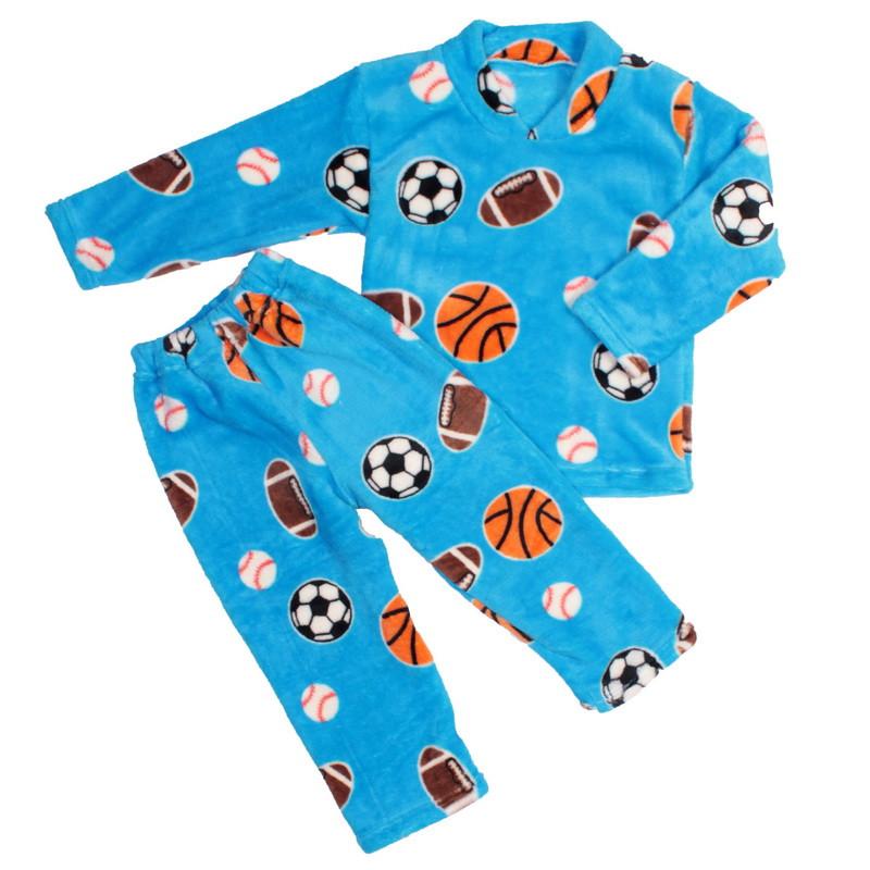 Пижама махра для мальчиков мячи голубая