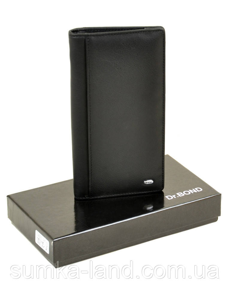 Большой вертикальный мужской кошелек из кожи на магните Dr. Bond черного цвета (10*19 см)