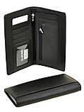 Большой вертикальный мужской кошелек из кожи на магните Dr. Bond черного цвета (10*19 см), фото 3