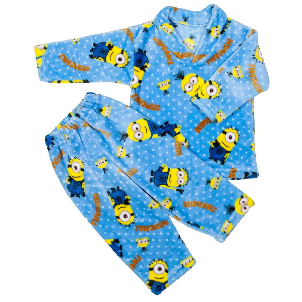 Пижама махра для мальчиков миньоны голубая