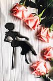 Топпер в торт , сидящая дама на кондитерской палочке,топперы силуэты 2 цвета, фото 2