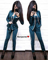 Очень крутой костюм тройка с поясом (жакет, укороченные брюки и майка), размеры С М, фото 3