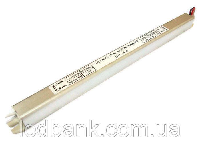 Блок питания для светодиодной ленты 36 Вт 12В MTK-36-12 тонкий