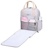 Сумка-рюкзак  для мам многофункиональная светло-серая  Mommore, фото 3