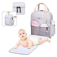 Сумка-рюкзак  для мам многофункиональная светло-серая  Mommore, фото 4
