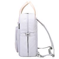 Сумка-рюкзак  для мам многофункиональная светло-серая  Mommore, фото 6