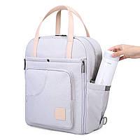 Сумка-рюкзак  для мам многофункиональная светло-серая  Mommore, фото 7