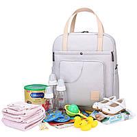 Сумка-рюкзак  для мам многофункиональная светло-серая  Mommore, фото 8