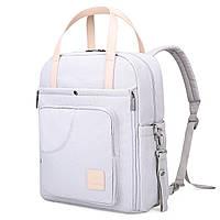 Сумка-рюкзак  для мам многофункиональная светло-серая  Mommore