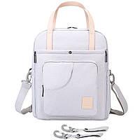 Сумка-рюкзак  для мам многофункиональная светло-серая  Mommore, фото 9