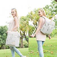 Сумка-рюкзак  для мам многофункиональная светло-серая  Mommore, фото 2