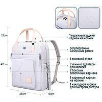 Сумка-рюкзак  для мам многофункиональная светло-серая  Mommore, фото 10