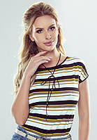 Женская футболка Alva Eldar в черно-желтую полоску, коллекция весна-лето