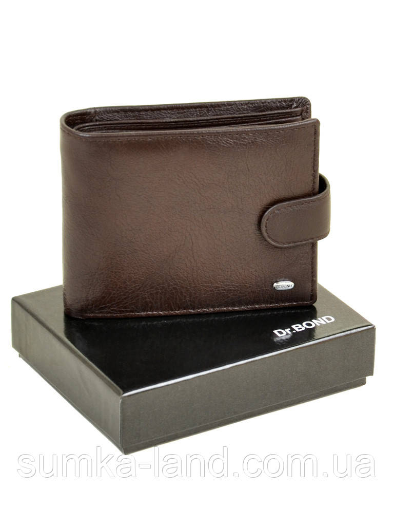 Мужской кошелек на кнопке из кожи Dr. Bond коричневого цвета (12,5*10 см)