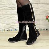 Сапоги демисезонные женские на низком ходу, натуральная черная кожа и замша., фото 2