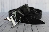 Ремень Louis Vuitton женский черный пряжка серебро