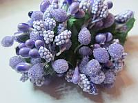 """Додаток к цветам """"тычинки сложные"""" сиреневые с зелёными листиками, букетик из 11 соцветий, длина 12 см"""