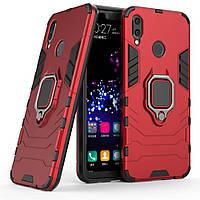 Чехол-бампер для Huawei honor 8x противоударный с кольцом (красный)