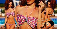 Раздельный купальник Бант в цветах и плавками на завязках 614