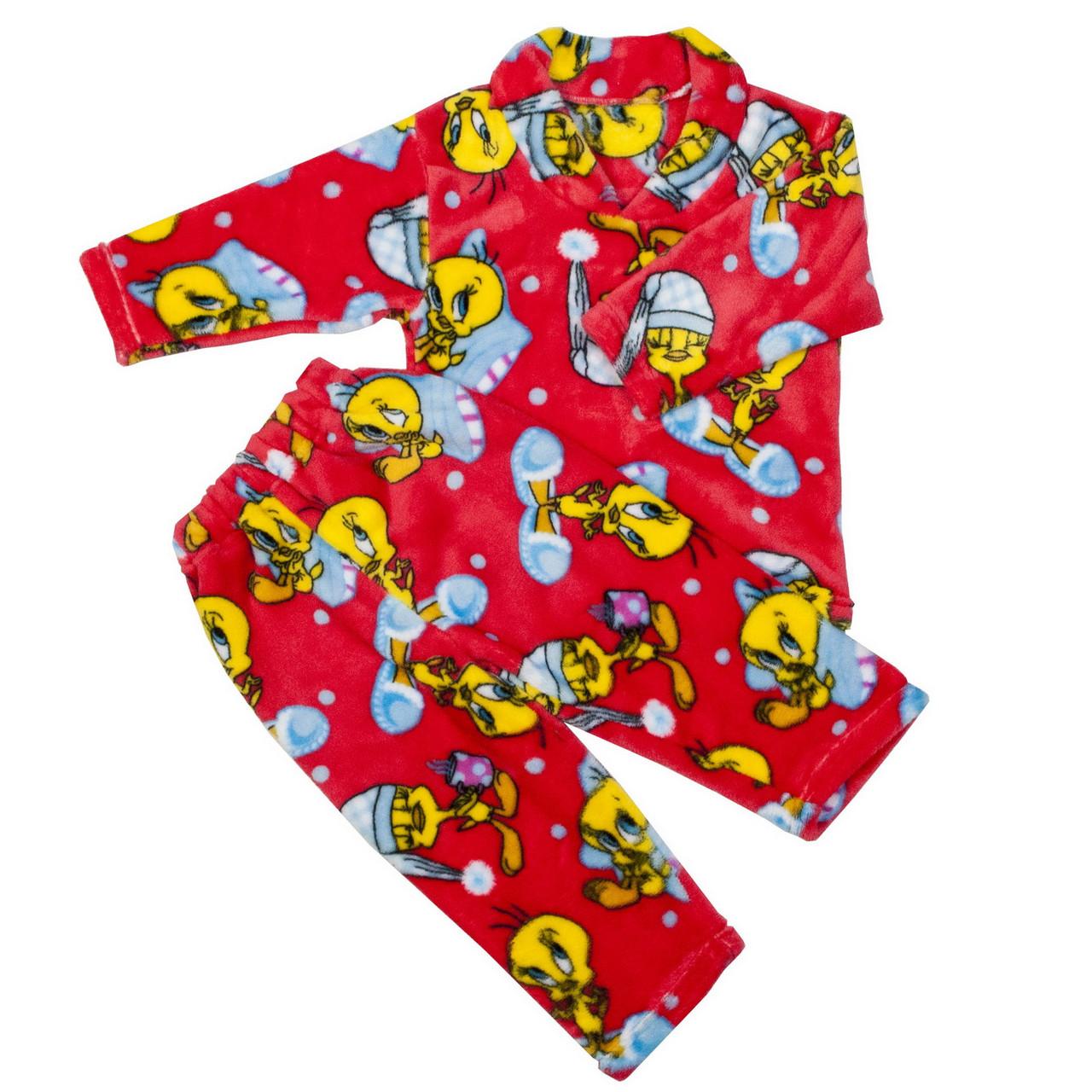 Пижама махра для девочек цыплята красная