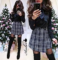 Женская блуза на пуговицах с бантом, чёрная и белая, размер С М