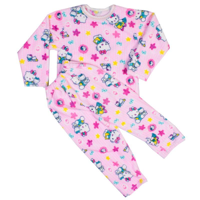 Пижама махра для девочек кити розовая