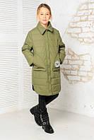 Стеганая демисезонная куртка-пальто на девочку 134 р