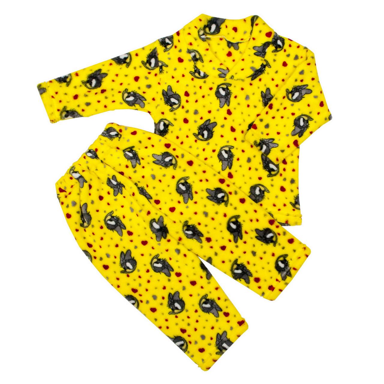 Пижама махра для девочек поночка желтая