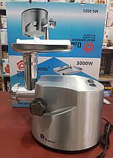 Электромясорубка металлическая мясорубка Domotec MS-2021 (реверс) 3000W Медная обмотка, фото 3