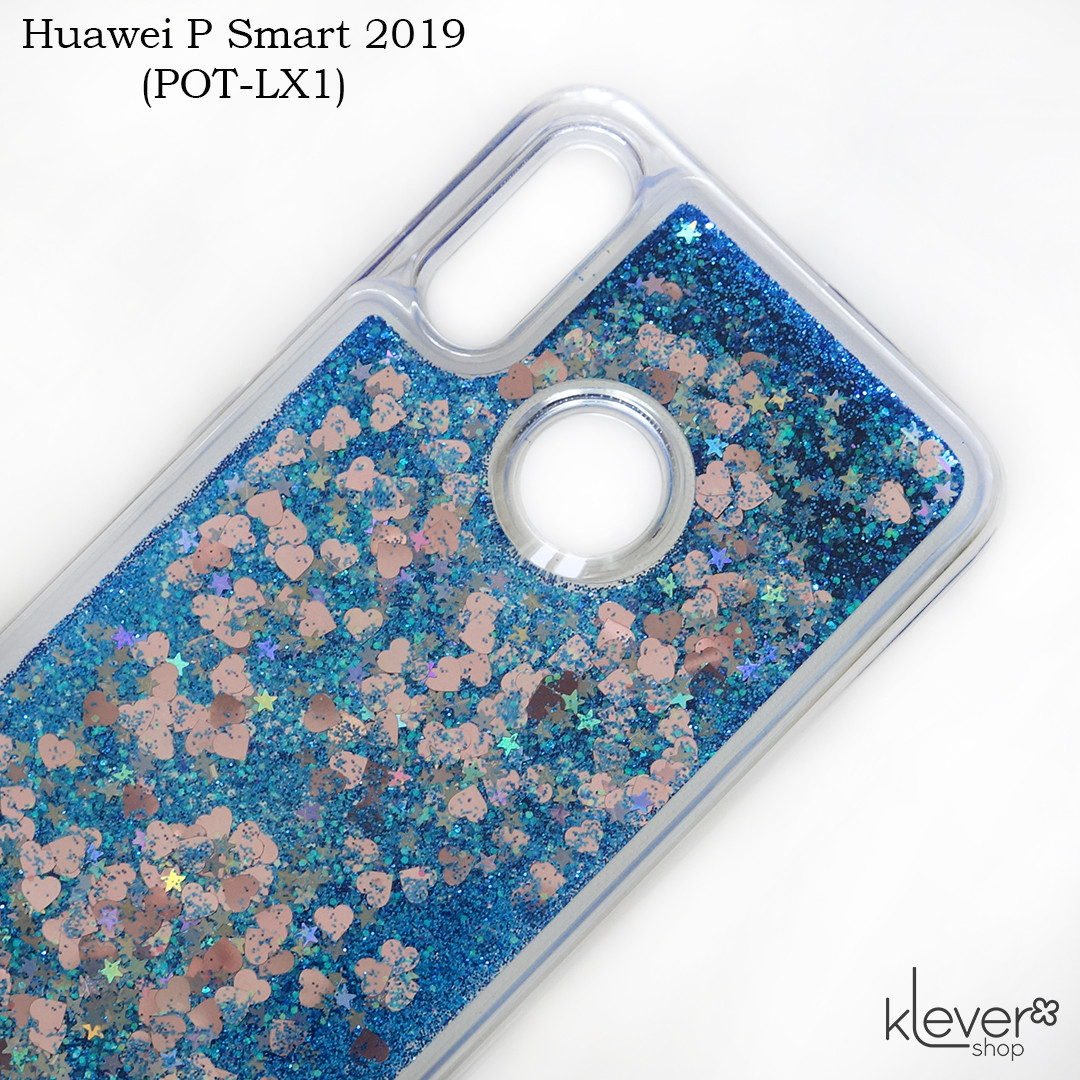 Чехол аквариум с блестками для Huawei P Smart 2019 (POT-LX1) (синие блестки)