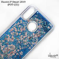 Чехол аквариум с блестками для Huawei P Smart 2019 (POT-LX1) (синие блестки), фото 1