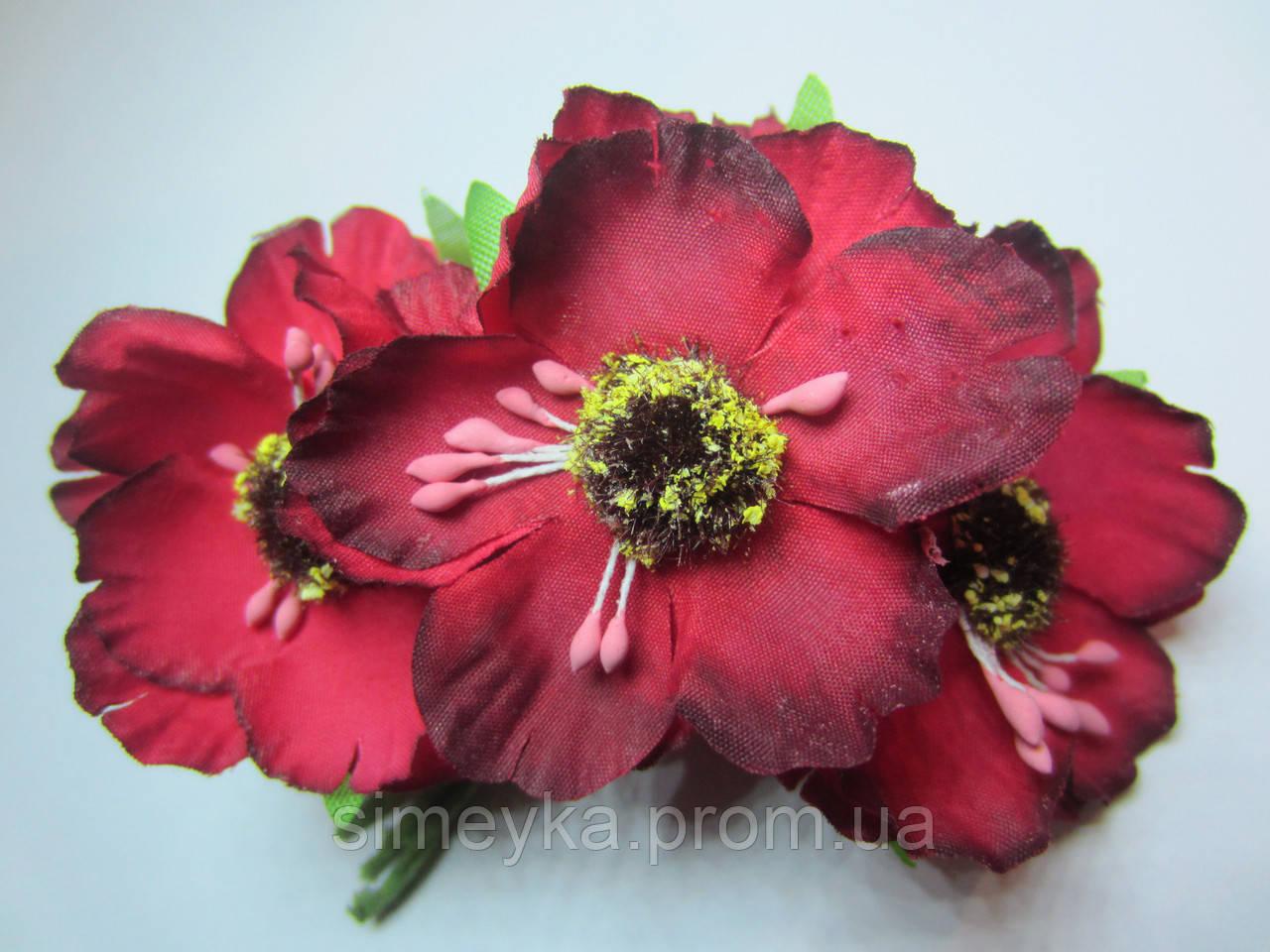 Мак красный для украинского венка, диаметр цветка 40 мм, 1 шт.