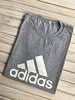 Мужская футболка хлопковая, хб, спортивная Adidas серая