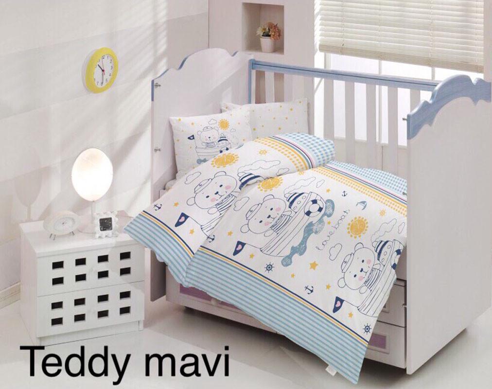 Детское постельное белье Altinbasak (ранфорс) № Teddy Mavi
