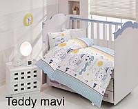 Дитяче постільна білизна Altinbasak (ранфорс) № Teddy Mavi, фото 1