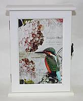 Ключница деревянная, Птица, белая, фото 1