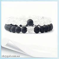 Парные браслеты из камня Шунгит и Горный хрусталь матовый. d-8 mm.