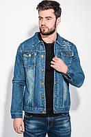 (Светло-синий) (Размер XXL) Куртка мужская джинс с принтом на спине 251V001