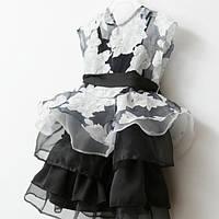 Черно белое платье для девочки нарядное