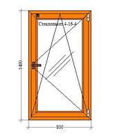 Ламинированное одностворчатое окно 800 х 1400 мм