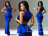 Платье в пол с баской синие