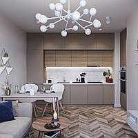 Кухня cappuccino матовая краска мдф, шпон дуба, искусственный камень акрил tristone
