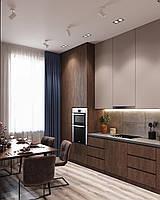 Кухня cappuccino матовая краска мдф, шпон ореха американского, искусственный камень акрил tristone