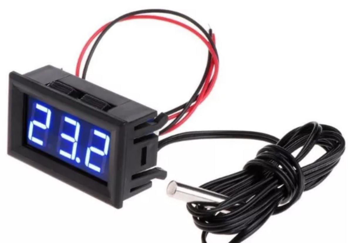 Цифровой термометр с выносным датчиком DC 5-12 В, -50...~110C (СИНИЙ)
